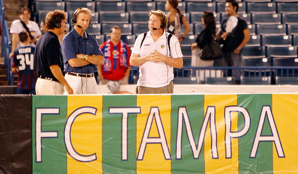 OCTOBER 1, 2010; TAMPA, FLORIDA: Technical Director Perry Van Der Beck of the FC Tampa Bay Rowdies and Radio Broadcaster Mike Pepper during a game against Crystal Palace Baltimore at Steinbrenner Field in Tampa, Florida. FC Tampa Bay won the game 6-3. Photo by Matt May/FC Tampa Bay Rowdies
