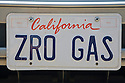 A close up of 'ZRO GAS' (Zero Gas) license plate. At an Electric Vehicle Rally in Palo Alto, hosted by the Silicon Valley Chapter of the Electric Auto Association. Palo Alto, California, USA