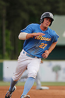 Myrtle Beach Pelicans infielder Jacob Rogers (27) running the bases during a game against the Salem Red Sox at Ticketreturn.com Field at Pelicans Ballpark on May 6, 2015 in Myrtle Beach, South Carolina.  Myrtle Beach defeated Salem 4-2. (Robert Gurganus/Four Seam Images)