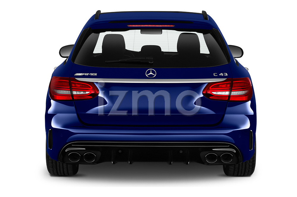 Straight rear view of a 2020 Mercedes Benz C Class Break 43 AMG 5 Door Wagon stock images