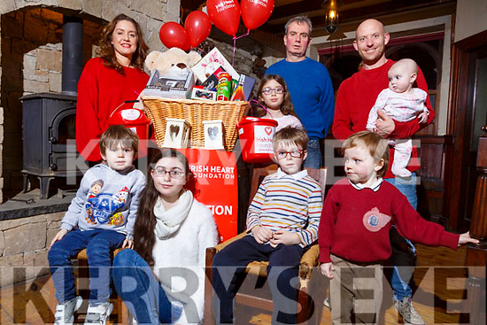 The launch of the Irish Heart Foundation fundraiser in Flahives Bar, Ballyheigue on Tuesday and it will be held on Saturday Feb the 16th in Flahives Ballyheigue. <br /> Seated l to r: Darragh and Amy Lee, Alex Leen and and Patrick Flahive.<br /> Back l to r: Treasa, Bernard and Kiara Lee, Pat and Savannah Flahive.