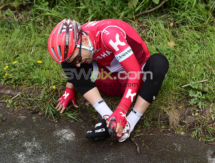 Picture by Alex Broadway/SWpix.com - 30/04/2016 - Cycling - 2016 Tour de Yorkshire: Otley to Doncaster - Yorkshire, England - Tiago Machado of Team Katusha after a crash.
