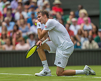London, England, 3 th July, 2017, Tennis,  Wimbledon, Alexander Bublik (KAZ) reacts in his openings match against Andy Murray (GBR)<br /> Photo: Henk Koster/tennisimages.com
