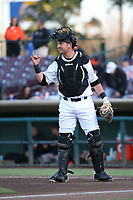 Inland Empire 66ers catcher Michael Barash (32) lets his defense know there are two outs during the California League game against the San Jose Giants at San Manuel Stadium on April 8, 2017 in San Bernardino, California. (Larry Goren/Four Seam Images)