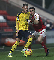 Oxford United's Jordan Graham battles with Fleetwood Town's Lewis Coyle<br /> <br /> Photographer Rich Linley/CameraSport<br /> <br /> The EFL Sky Bet League One - Fleetwood Town v Oxford United - Saturday 12th January 2019 - Highbury Stadium - Fleetwood<br /> <br /> World Copyright &copy; 2019 CameraSport. All rights reserved. 43 Linden Ave. Countesthorpe. Leicester. England. LE8 5PG - Tel: +44 (0) 116 277 4147 - admin@camerasport.com - www.camerasport.com