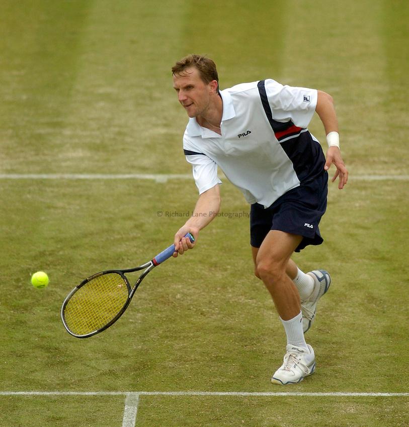 Photo. Glyn Thomas. .Nottingham Open Tennis, day 2..15/06/2004..Karol Kucera volleys the ball.