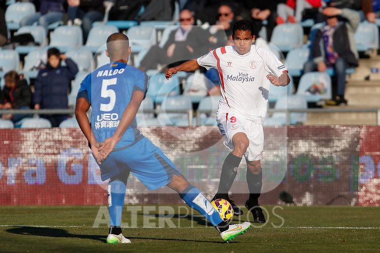 Getafe´s Naldo and Sevilla´s Bacca during 2014-15 La Liga match at Alfonso Perez Coliseum stadium in Getafe, Spain. February 08, 2015. (ALTERPHOTOS/Victor Blanco)