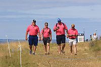 Four supporters at the 3rd during Round 4 of the Aberdeen Standard Investments Scottish Open 2019 at The Renaissance Club, North Berwick, Scotland on Sunday 14th July 2019.<br /> Picture:  Thos Caffrey / Golffile<br /> <br /> All photos usage must carry mandatory copyright credit (© Golffile | Thos Caffrey)