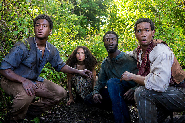 "Renwick Scott as Henry, Jurnee-Smollett-Bell as Rosalee, Aldis Hodge as Noah and Alano Miller as Cato in WGN America's ""Underground."""