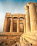 GREECE, Athens, large stone columns of the entrance into the Acropolis, an area called the Propylaea