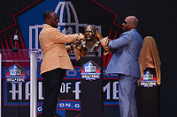Canton, Ohio - August 3, 2019: Ty Law unveils his bust at the Tom Benson Hall of Fame Stadium in Canton, Ohio August 3, 2019 after his induction into the Pro Football Hall of Fame.  (Photo by Don Baxter/Media Images International)