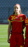 20140410 - BRUSSELS , BELGIUM : Belgian Tine De Caigny pictured during the female soccer match between BELGIUM U19 and GERMANY U19 , in the third and final game of the Elite round in group 4 in the UEFA European Women's Under 19 competition 2014 in the Koning Boudewijn Stadion , Thursday 10 April 2014 in Brussels . PHOTO DAVID CATRY