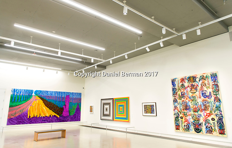 A view of the new Color & Pattern show on display at Pivot Art + Culture through July 23, 2017. The show boldly explores the variety of styles by which artists have interpreted color and pattern - from the abstract to the representational. Photo by Daniel Berman