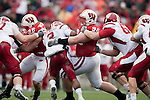 Wisconsin Badgers defensive lineman Beau Allen (96) tackles Indiana Hoosiers running back Zach Davis-Walker (3) during an NCAA college football game on November 13, 2010 at Camp Randall Stadium in Madison, Wisconsin. The Badgers won 83-20. (Photo by David Stluka)