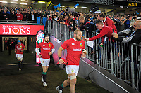 A fan pats James Haskell on the shoulder as he runs out for the 2017 DHL Lions Series rugby union match between the Blues and British & Irish Lions at Eden Park in Auckland, New Zealand on Wednesday, 7 June 2017. Photo: Dave Lintott / lintottphoto.co.nz