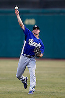 Ross Stripling #17 of the Rancho Cucamonga Quakes warms up before pitching against the Inland Empire 66'ers at San Manuel Stadium on April 24, 2013 in San Bernardino, California. Inland Empire defeated Rancho Cucamonga, 2-1. (Larry Goren/Four Seam Images)