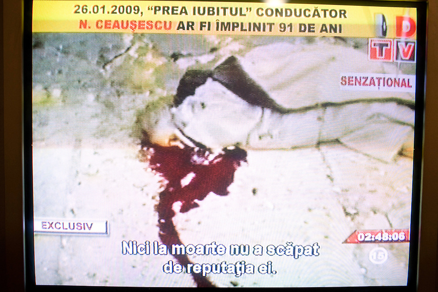 ROMANIA / Bucharest / 26.01.09..A television screen shot of a dead Elena Ceausescu moments after she was executed by firing squad on Christmas day 1989 during the Romanian Revolution. Romanian television replayed the trial and a documentary about his rule of Romania on the occasion of his birthday, 26 January. Ceausescu would have been 91 years-old in 2009. Romania experienced the most oppressive of the former Eastern Bloc's Communist regimes and by the late 1980s shops were empty of food, the imfamous secret police called the Securitate had created a police state and Ceausescu had launched grandisose Communist building projects modeled after North Korea that involved leveling one fifth of historic Bucharest...© Davin Ellicson / Anzenberger