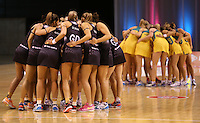 20.10.2015 Action during the Silver Ferns v Australian Diamonds netball test match played ay Horncastle Arena in Christchruch. Mandatory Photo Credit ©Michael Bradley.