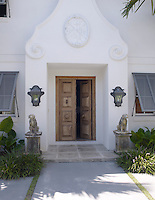 The ornate porch of designer Lars Bolander's Spanish-style house in Palm Beach, Florida