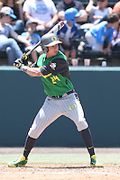 Mark Karaviotis #24 of the Oregon Ducks bats against the UCLA Bruins at Jackie Robinson Stadium on May 18, 2014 in Los Angeles, California. Oregon defeated UCLA, 5-4. (Larry Goren/Four Seam Images)