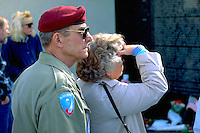 Couple age 60 viewing Minnesota Vietnam War Memorial.  St Paul  Minnesota USA