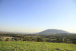 Israel, Lower Galilee, Tel Govel by Beth Keshet scenic road, Mount Tabor is in the background