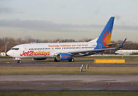 A Jet2 Boeing 737-8MG Registration G-JZHU at Manchester Airport on 11.2.19 going to Funchal Cristiano Ronaldo Airport, Portugal.