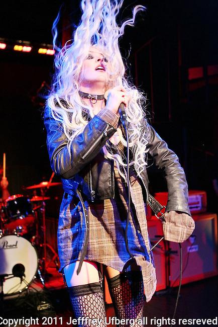 "April 13, 2011 New York: Singer Taylor Momsen performs ""Domnion"" on April 13, 2011 in New York"