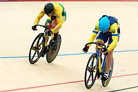Picture by Alex Whitehead/SWpix.com - 10/12/2017 - Cycling - UCI Track Cycling World Cup Santiago - Velódromo de Peñalolén, Santiago, Chile - Lithuania's Vasilijus Lendel defeats Ukraine's Andrii Vynokurov in the Men's Sprint semi-finals.