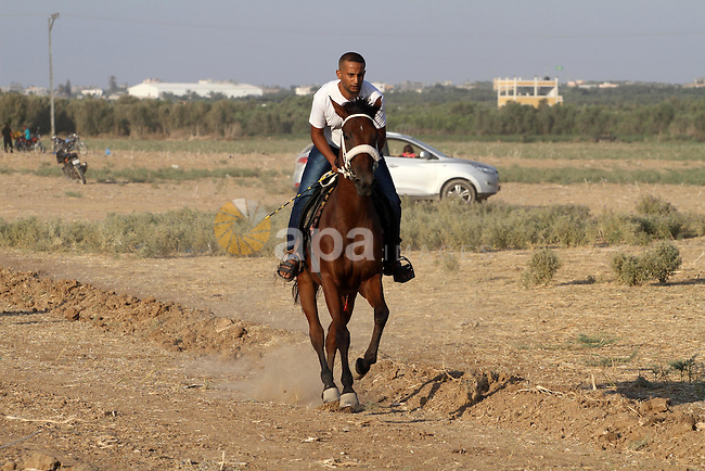 Palestinian competitors take part in a horse race, in Gaza city on September 4, 2015. Six participants with their horses took part in the race in the eastern Gaza city. Photo by Mohammed Asad