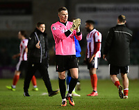 Lincoln City's Paul Farman applauds the fans at the final whistle<br /> <br /> Photographer Chris Vaughan/CameraSport<br /> <br /> The EFL Sky Bet League Two - Lincoln City v Notts County - Saturday 13th January 2018 - Sincil Bank - Lincoln<br /> <br /> World Copyright &copy; 2018 CameraSport. All rights reserved. 43 Linden Ave. Countesthorpe. Leicester. England. LE8 5PG - Tel: +44 (0) 116 277 4147 - admin@camerasport.com - www.camerasport.com