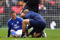 Danny Ward of Cardiff City is injured during Tottenham Hotspur vs Cardiff City, Premier League Football at Wembley Stadium on 6th October 2018