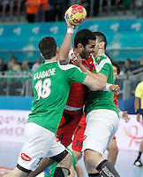 Algeria's Hichem Kaabache (l) and Egypt's Mohamed Hesham (c) during 23rd Men's Handball World Championship preliminary round match.January 15,2013. (ALTERPHOTOS/Acero) /NortePhoto
