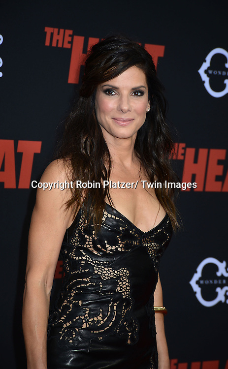 "Sandra Bullock attends the New York Premiere of ""The Heat"" on June 23,2013 at the Ziegfeld Theatre in New York City. The movie stars Sandra Bullock, Melissa McCarthy, Demian Bichir, Marlon Wayans, Joey McIntyre, Jessica Chaffin, Jamie Denbo, Nate Corddry, Steve Bannos, Spoken Reasons and Adam Ray."