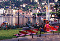 Switzerland, Ticino, Ascona, Lakefront park along Lake Maggiore in the city of Ascona.