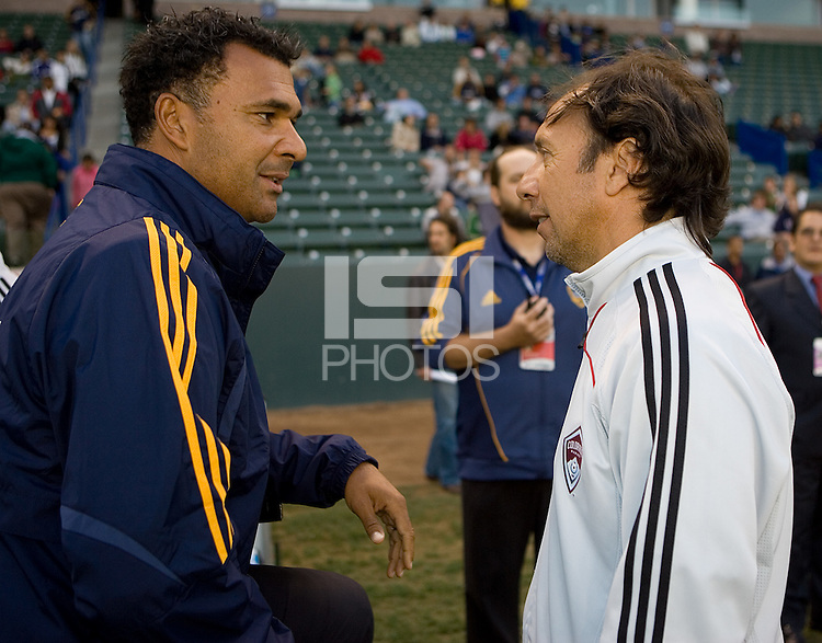 LA Galaxy head coach Ruud Gullit (l) and Colorado Rapids head coach Fernando Clavijo (r) chat before the start of the game. The Colorado Rapids defeated the LA Galaxy 1-0 during the preliminary rounds of the 2008 US Open Cup at Home Depot Center stadium in Carson, Calif., on Tuesday, May 27, 2008.
