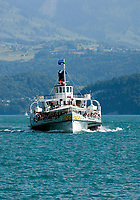 CHE, Schweiz, Kanton Bern, Berner Oberland, Oberhofen: Raddampfer Bluemlisalp iauf dem Thunersee | CHE, Switzerland, Bern Canton, Bernese Oberland, Oberhofen: paddle steamer Bluemlisalp on Lake Thun