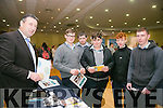 Jim O'Sullivan from E-College with student from Tarbert  comprehensive David O'Carroll, Shane Winter, Dylan Scanlon, Aaron Conway, Ben Dalton at the Kerry ETB's Further Education and Training Fair in the The Brandon Hotel on Thursday