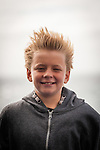 Cook Strait, NEW ZEALAND - January 17: Young Boy battles wind on the  Interislander Kaitaki. January 17, 2015 in Cook Stait, New Zealand. REAL PEOPLE. (Photo by Elias Rodriguez/ real-people.co.nz)