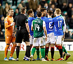 19.12.2018 Hibs v Rangers: Connor Goldson and Vykintas Slivka have words