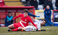 Florian Antognelli of AS Monaco FC Youth & Keanan Bennetts of Spurs U19 during the UEFA Youth League round of 16 match between Tottenham Hotspur U19 and Monaco at Lamex Stadium, Stevenage, England on 21 February 2018. Photo by Andy Rowland.