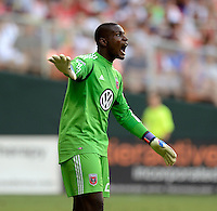 Bill Hamid (28) of D.C. United yells to his team during the game at RFK Stadium in Washington DC.   D.C. United defeated the Montreal Impact, 3-0.