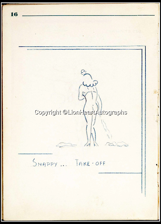 BNPS.co.uk (01202 558833)<br /> Pic:   LionHeartAutographs/BNPS<br /> <br /> One of the sketches of a scantily clad woman in the diary.<br /> <br /> A remarkable diary kept by a POW in the Great Escape camp which includes a tribute to the 50 men executed in its reprisals has come to light.<br /> <br /> British RAF officer Joseph Gueuffen, of 609 Squadron, was shot down during a bombing raid over Germany and held captive at Stalag Luft III from late 1943 until the end of the war.<br /> <br /> The Belgian born pilot was kept in Block 109, a barrack which played an integral part in the mass escape of prisoners on March 24, 1944.<br /> <br /> The diary boasts a list of the officers executed by the Nazis following their recapture and a drawing of the permanent memorial for them by Belgian RAF pilot Bobby Laumans.