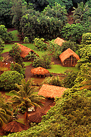 Thatched huts at the Polynesian center, along the Wailua river, on the North shore of Kauai