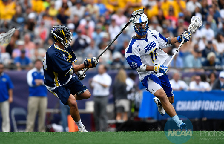 FOXBORO, MA - MAY 28: Colton Watkinson #17 of the Limestone Saints during the Division II Men's Lacrosse Championship held at Gillette Stadium on May 28, 2017 in Foxboro, Massachusetts. (Photo by Larry French/NCAA Photos via Getty Images)