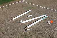 The stumps lie on the pitch as the start of the match is delayed due to traffic problems on the A12 during Essex CCC vs Glamorgan CCC, Specsavers County Championship Division 2 Cricket at the Essex County Ground on 12th September 2016