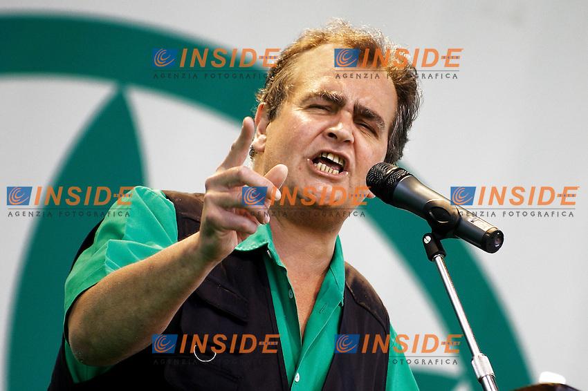 Roberto Calderoli, Ministro alla Semplificazione...Manifestazione della Lega Nord...Pontida, 01 Giugno 2008...Foto Antonietta Baldassarre Inside