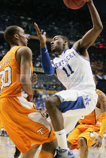 Freshman guard John Wall goes in for a shot in the second half of UK's 74-45 win over Tennessee at Bridgestone Arena in Nashville, TN during the SEC Semifinals on Saturday, March 13, 2010. Photo by Britney McIntosh | Staff