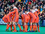 ROTTERDAM -Overleg, huddle,    tijdens   de Pro League hockeywedstrijd heren, Nederland-Spanje (4-0) . COPYRIGHT KOEN SUYK