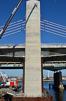Pearl Harbor Memorial Bridge, New Haven Harbor Crossing Corridor, Interstate 95 in CT. Construction of Connecticut Department of Transportation Contract B as seen on February 6, 2012. New Northbound Spans Progress of the Replacement Bridge. When complete this will be the first Extradosed Bridge in the United States.